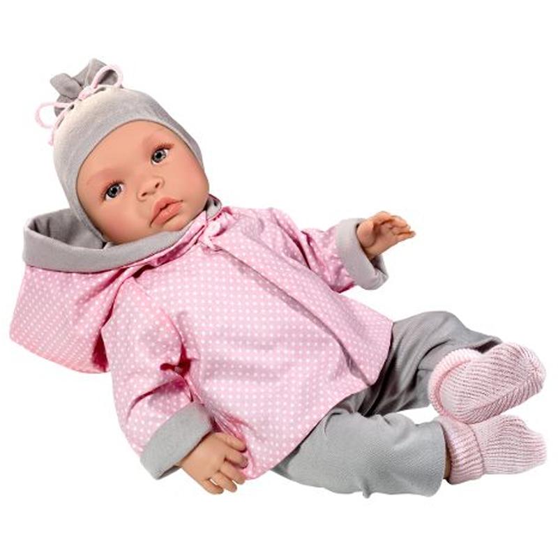 Image of Así Leonora babydukke, pige med vendbar jakke - 46 cm