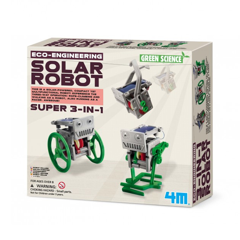 Image of   4M KidzLabs eksperiment legetøj, 3-i-1 mini soldrevet robot