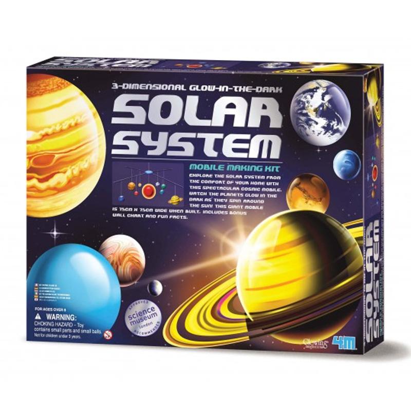 Image of   4M KidzLabs eksperiment legetøj, 3D solsystem uro konstruktionssæt