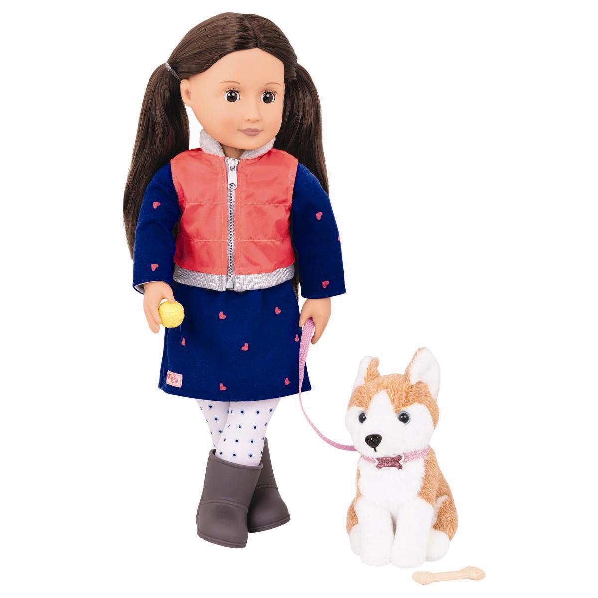 Image of   Our Generation dukke, Leslie med hund - 46 cm