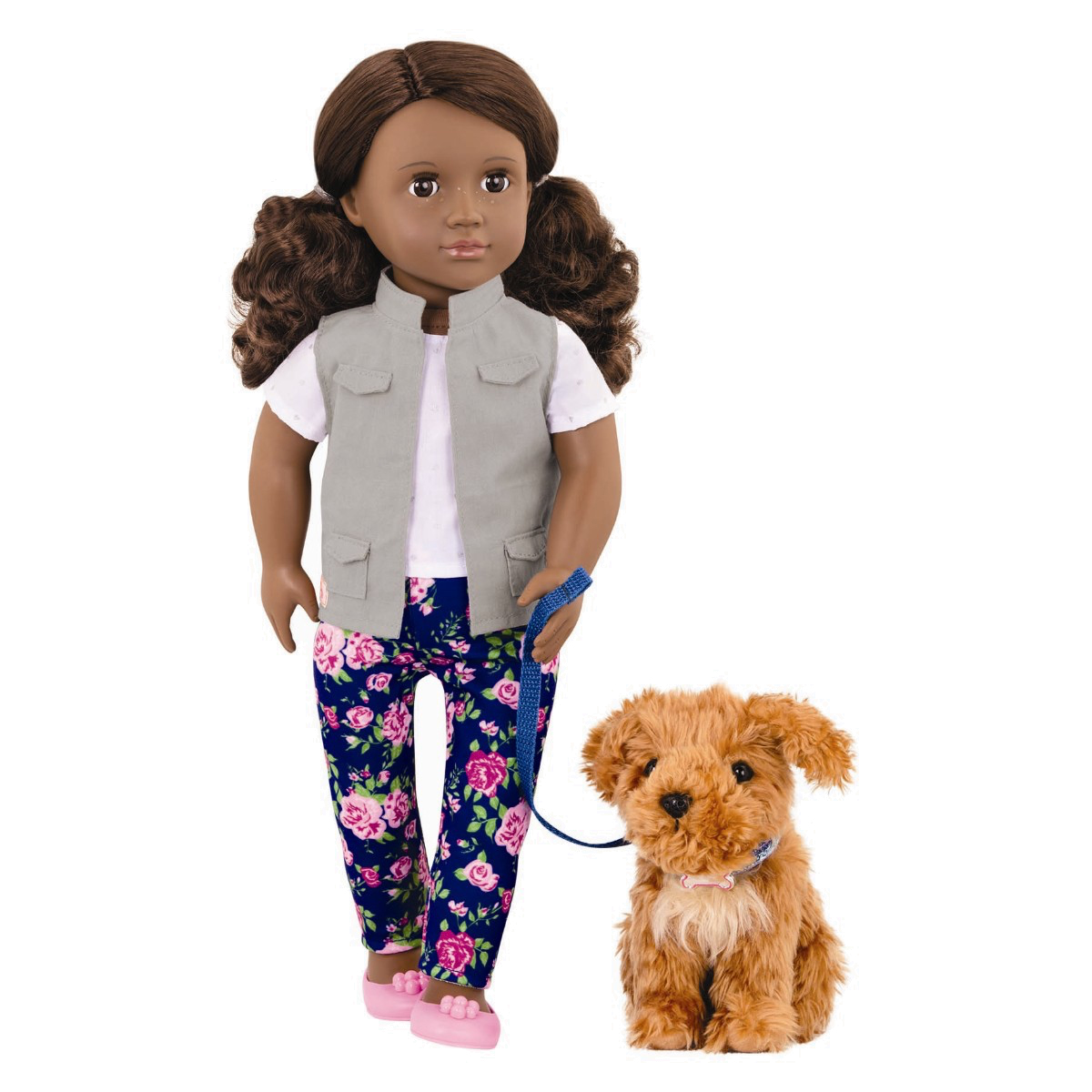 Image of   Our Generation dukke, Malia med hund - 46 cm