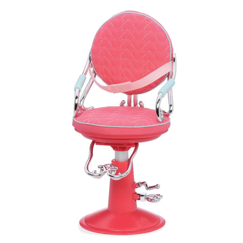 Image of   Our Generation dukketilbehør, frisørstol pink hjerter