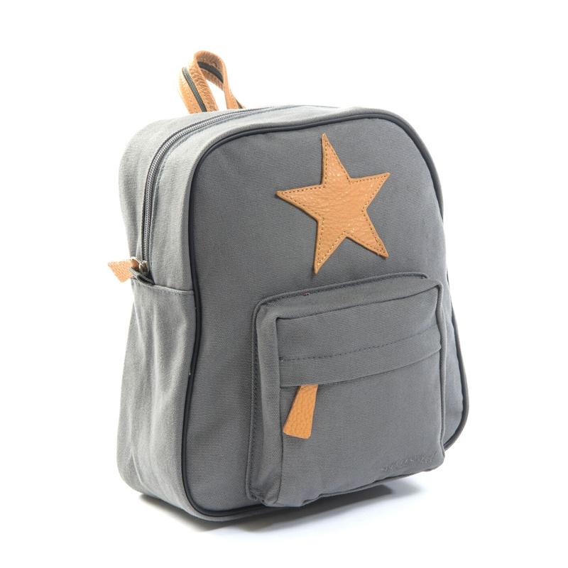 Smallstuff kanvas rygsæk med læderstjerne, grå - Smallstuff - Børneneskartel.dk