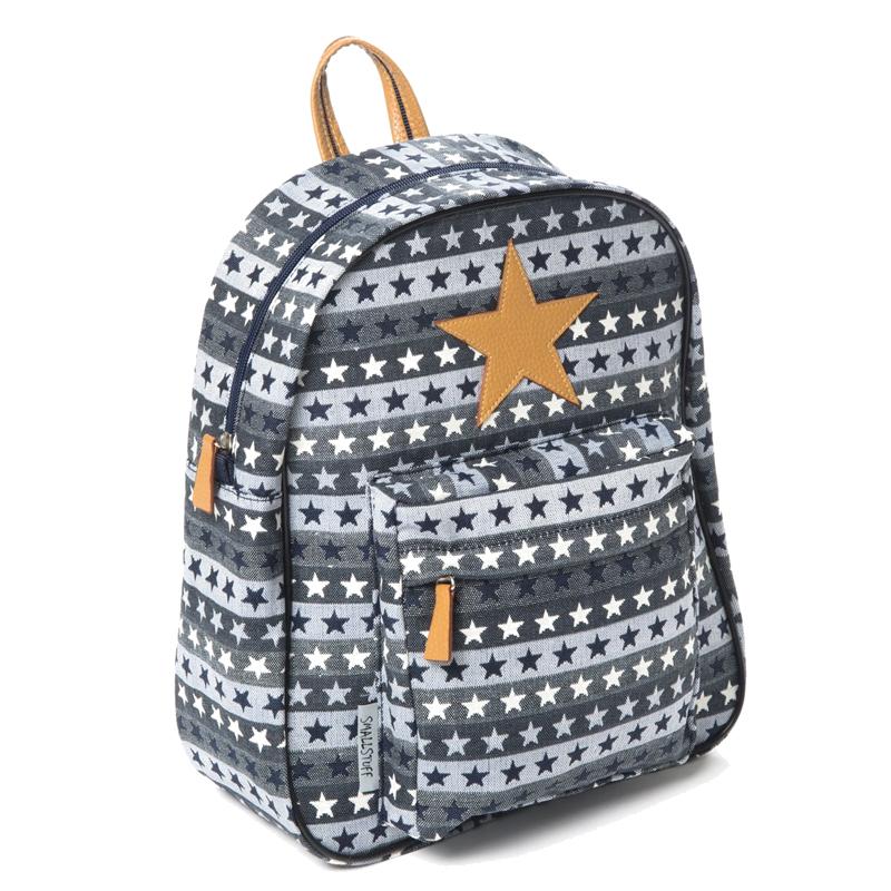 Smallstuff kanvas rygsæk med læderstjerne, blå m. stjerner - stor - Smallstuff - Børneneskartel.dk