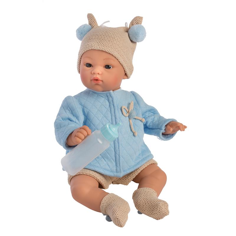 Así Koke babydukke, lyseblå quilt jakke - 36 cm