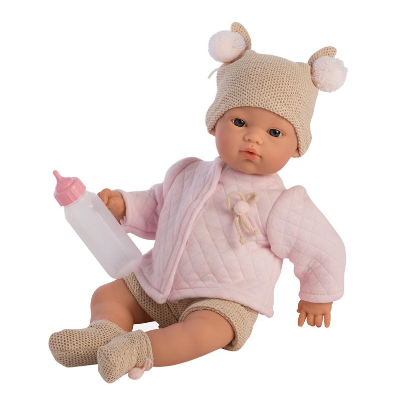 Así Koke babydukke, rosa quilt jakke - 36 cm