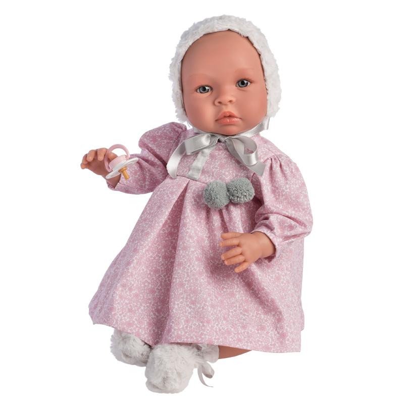 Image of Así Leonora babydukke, blomstret kjole og kyse - 46 cm