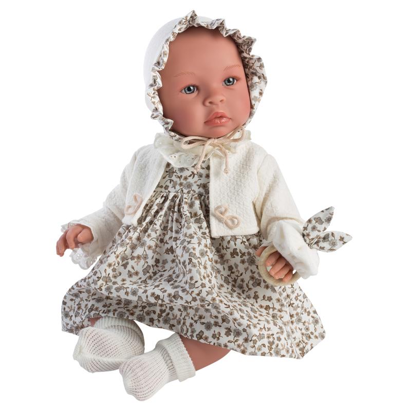 Image of Así Leonora babydukke, kjole med sandfrv blomster - 46 cm