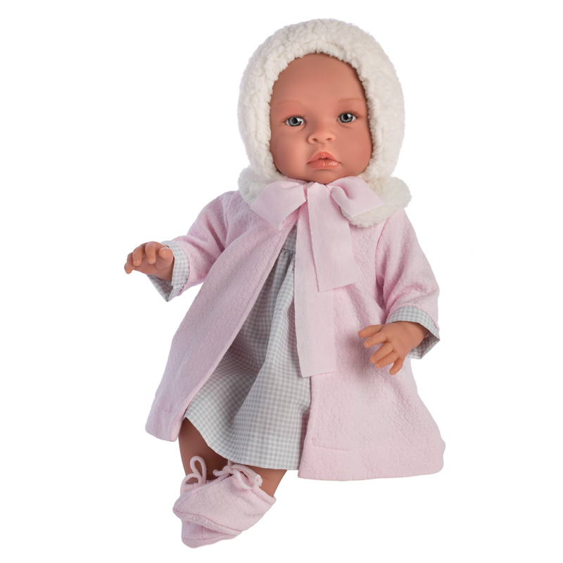 Image of Así Leonora babydukke, rosa frakke - 46 cm