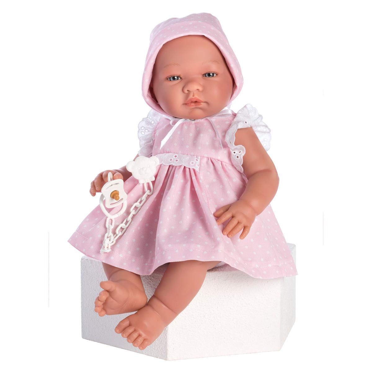 Image of Así Maria babydukke, pige med prikket kjole - 43 cm