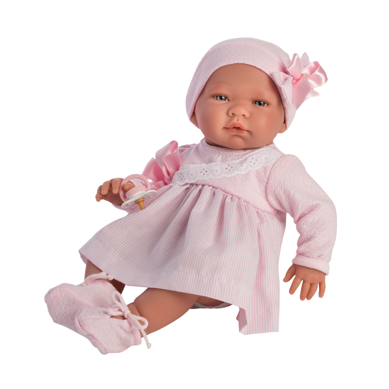 Image of Así Maria babydukke, rosa stribet kjole - 43 cm