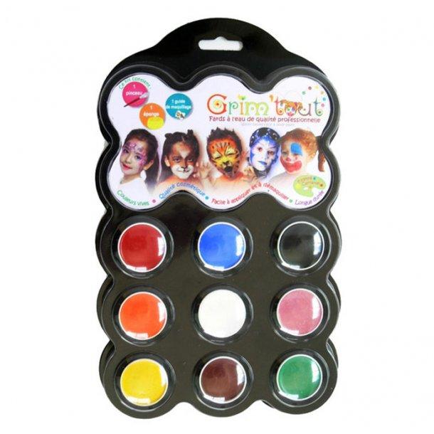 Grim Tout palette med ansigtsmaling, 9 farver - Karnival