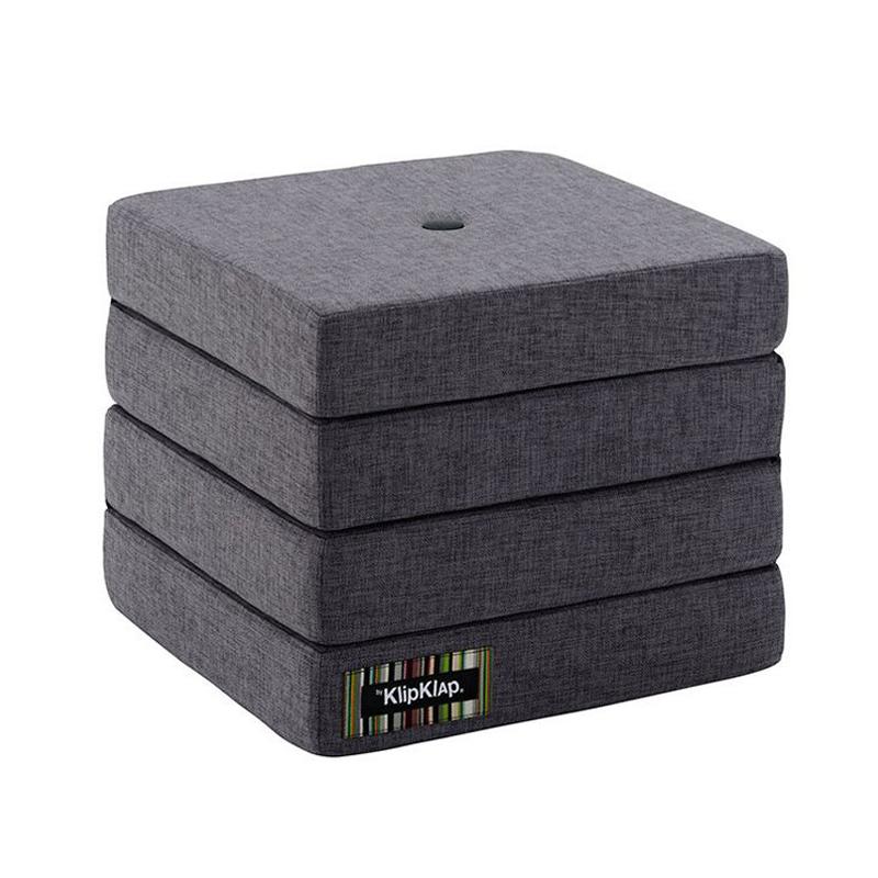 Image of   byKlipKlap 4-fold madras, blågrå med grå knap
