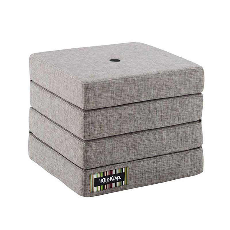 Image of   byKlipKlap 4-fold madras, multigrå med mørkegrå knap