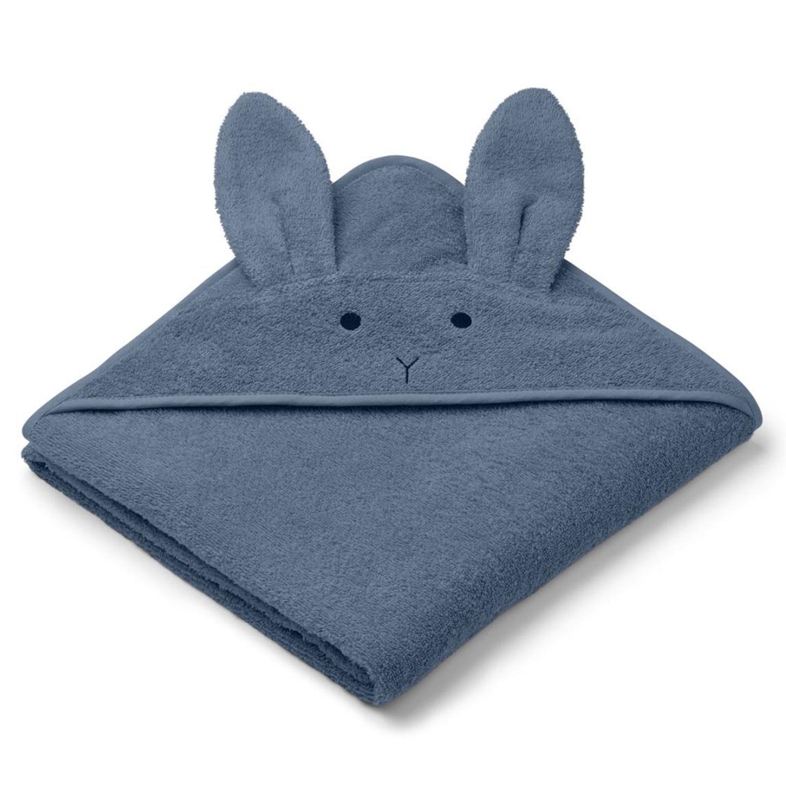 Liewood babyhåndklæde med hætte, kanin blue wave