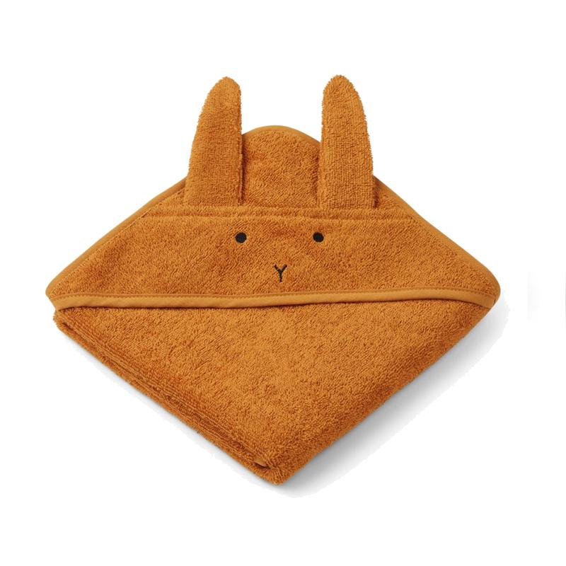 Liewood babyhåndklæde lille, kanin – mustard