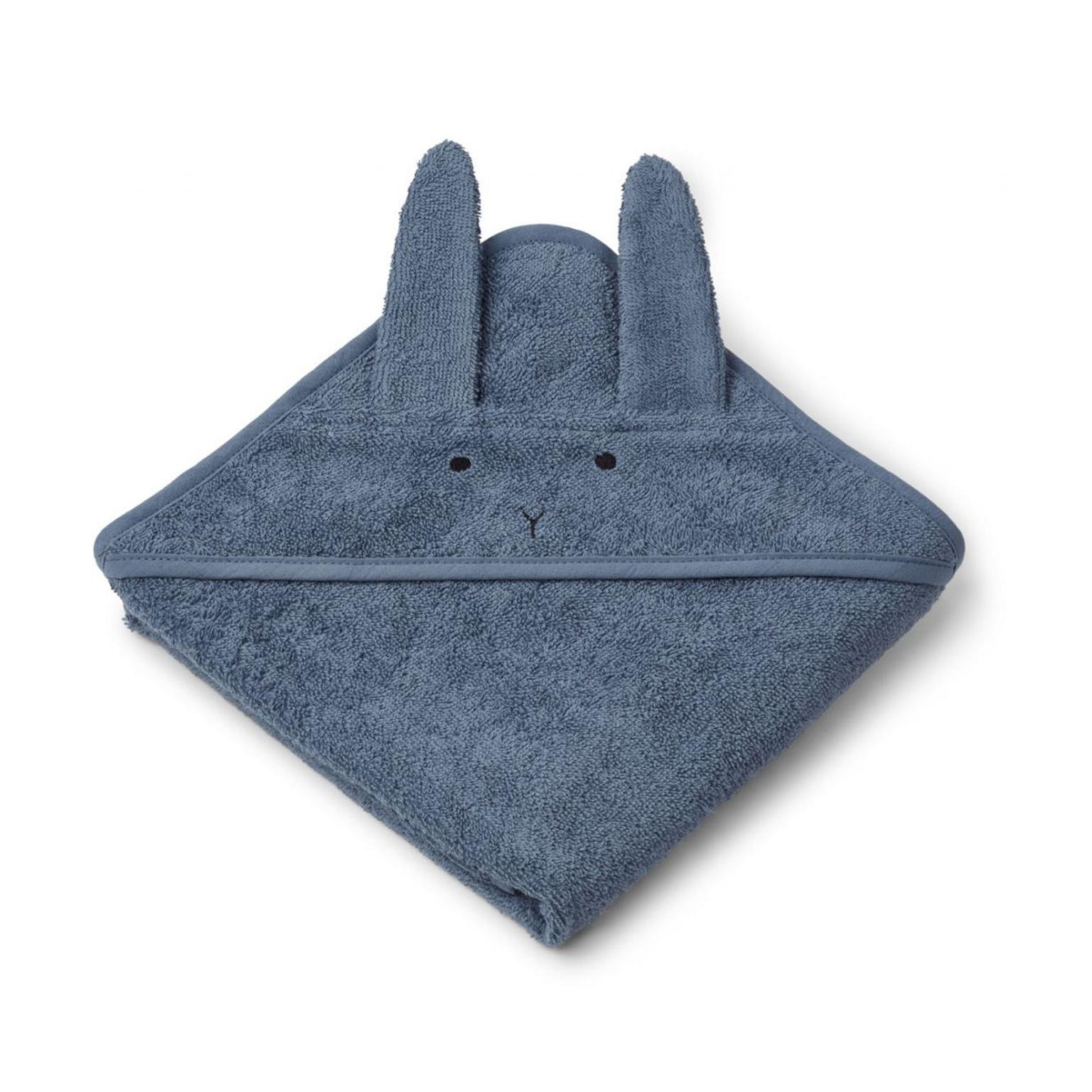 Liewood lille babyhåndklæde med hætte, kanin – blue wave