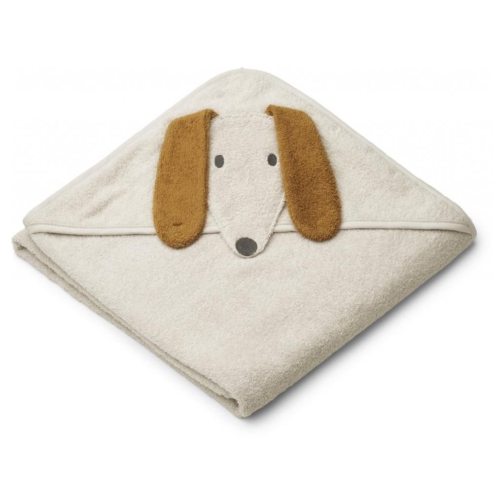 Liewood babyhåndklæde med hætte, Hund sandy