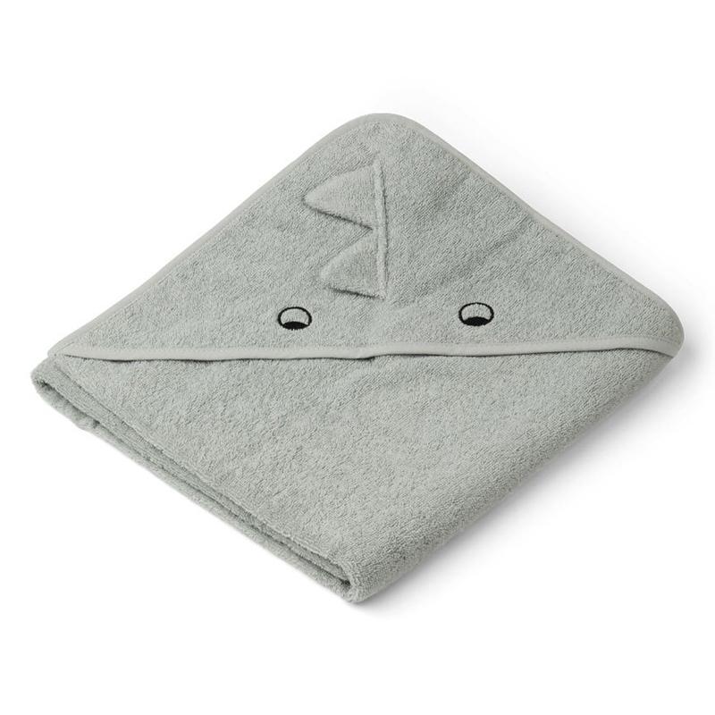 Liewood babyhåndklæde med hætte, dino dove blue