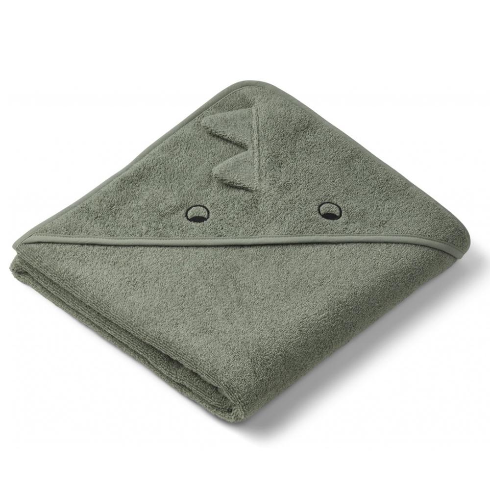 Liewood babyhåndklæde med hætte, dino faune green