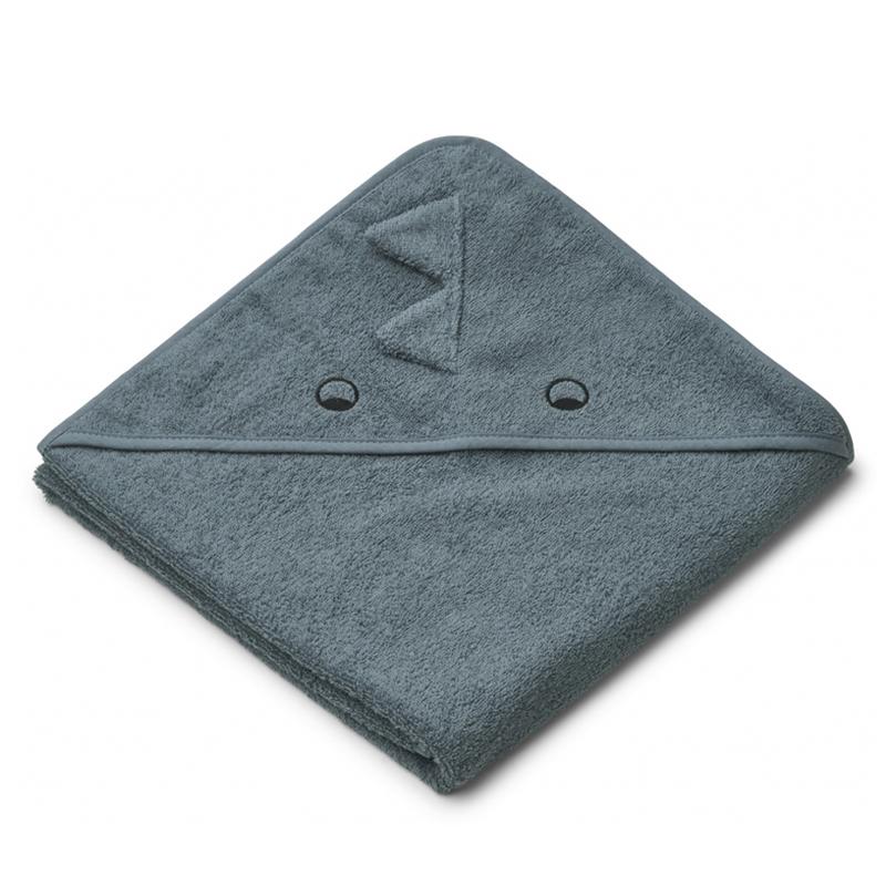 Liewood babyhåndklæde med hætte, dino whale blue