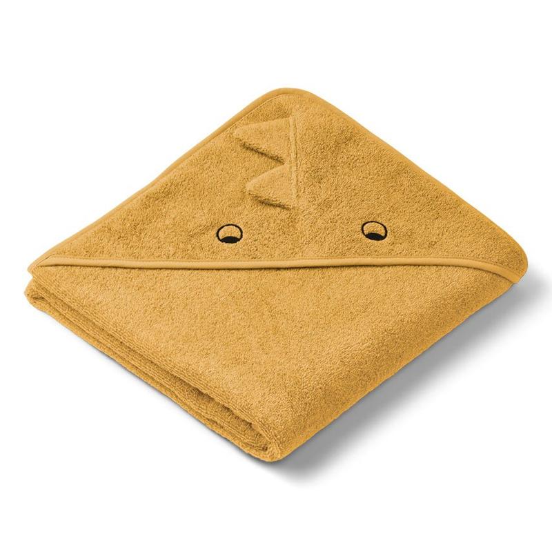 Liewood babyhåndklæde med hætte, dino yellow mellow