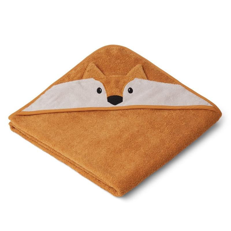 Liewood babyhåndklæde med hætte, fox mustard