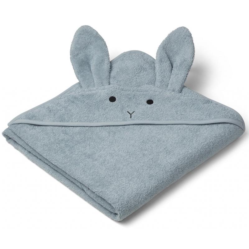 Liewood babyhåndklæde med hætte, kanin sea blue
