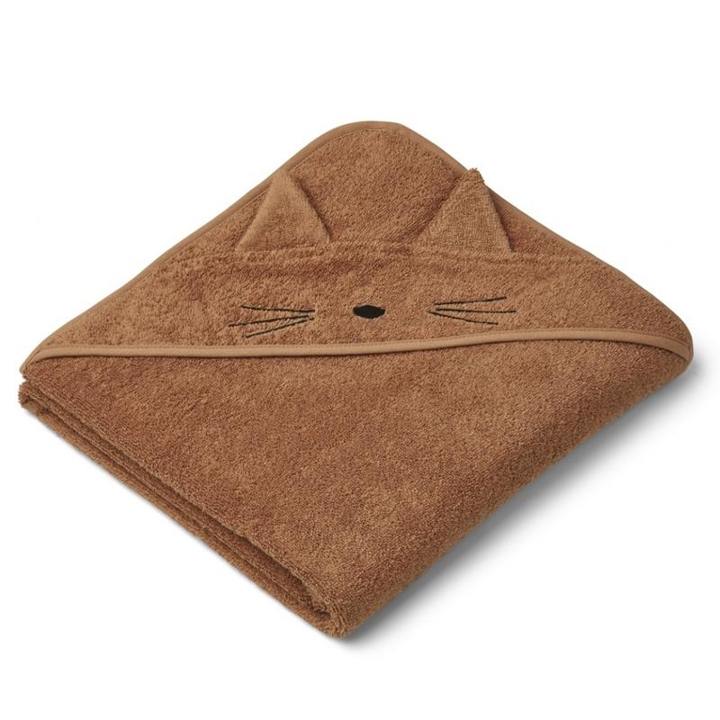 Liewood babyhåndklæde med hætte, kat terracotta