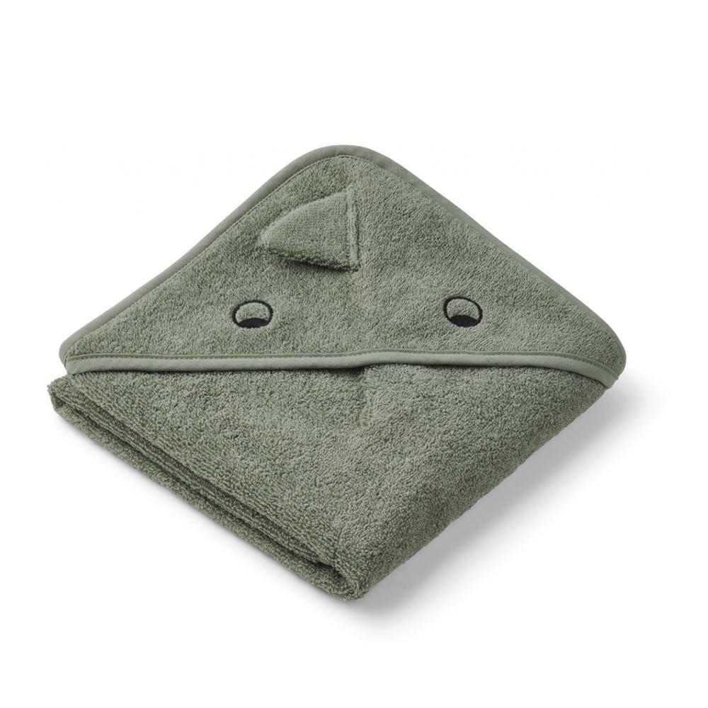 Liewood babyhåndklæde med hætte, lille – dino faune green