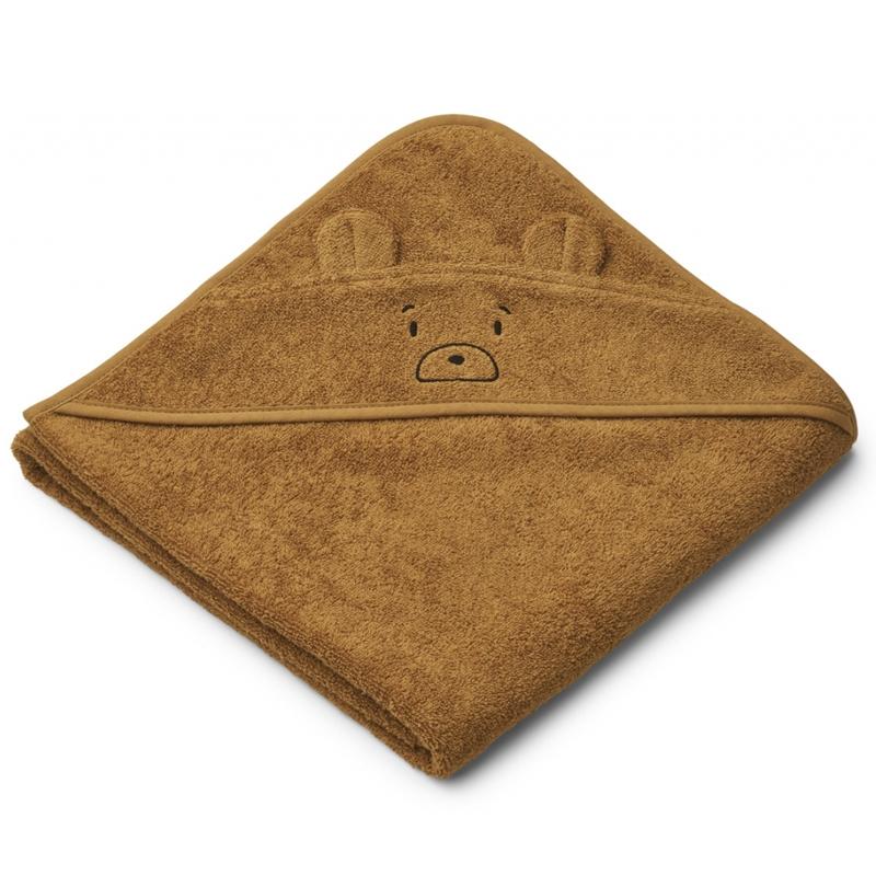 Liewood babyhåndklæde med hætte, mr bear golden caramel