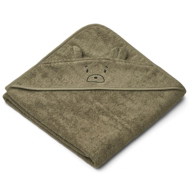 Liewood babyhåndklæde med hætte, mr bear khaki