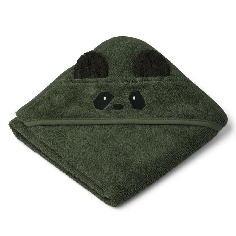 Liewood babyhåndklæde med hætte, panda hunter green