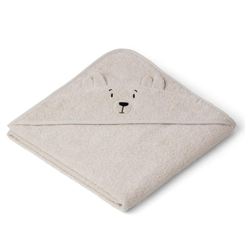 Liewood babyhåndklæde med hætte, polar bear sandy