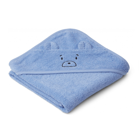 Liewood lille babyhåndklæde, Mr Bear Sky Blue