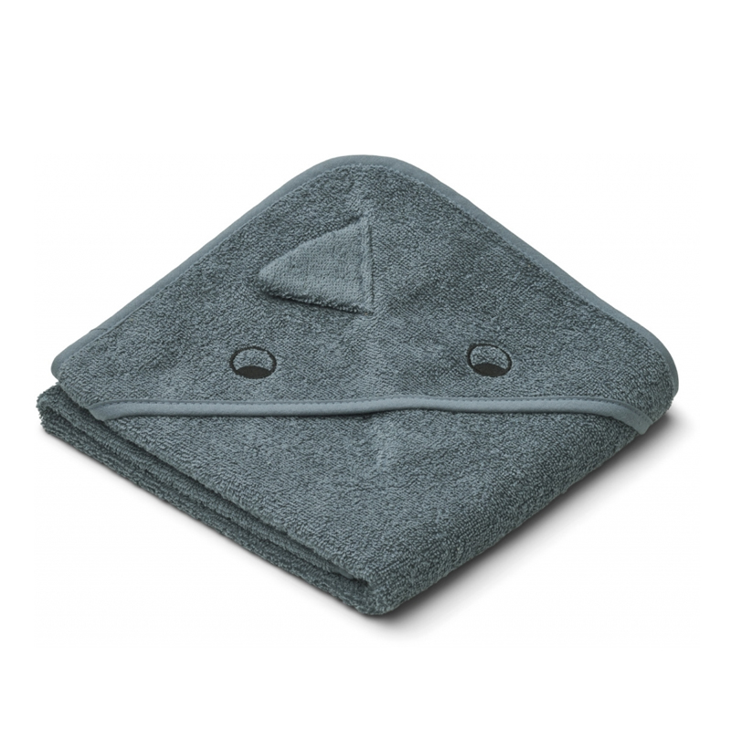 Liewood lille babyhåndklæde, dino blue whale