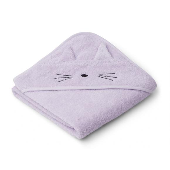 Liewood lille babyhåndklæde, kat Light Lavender