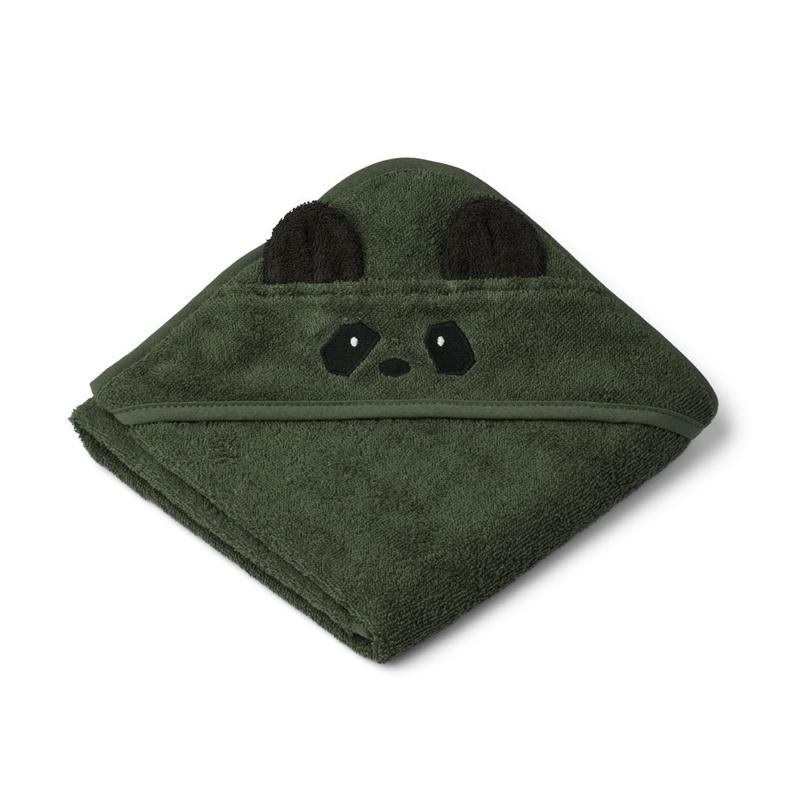 Liewood lille babyhåndklæde med hætte, Panda hunter green