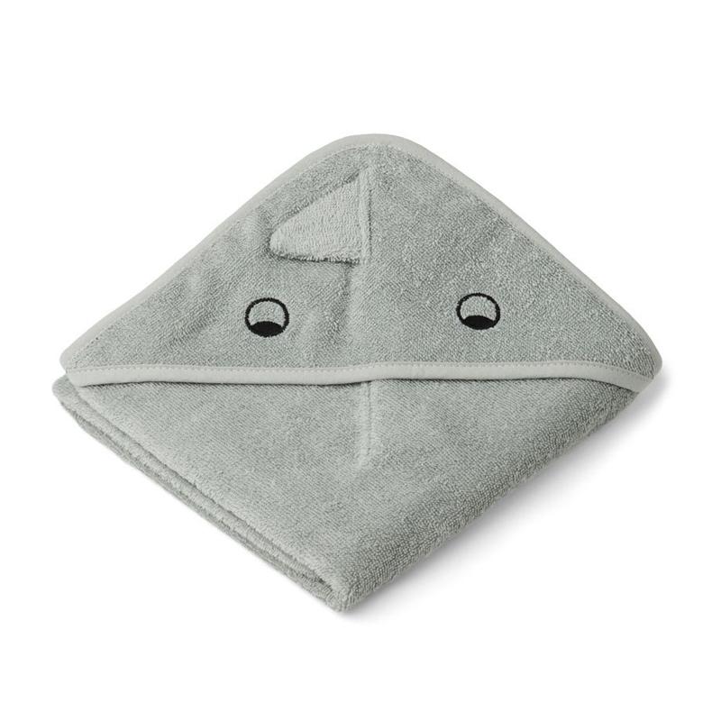 Liewood lille babyhåndklæde med hætte, dino – dove blue