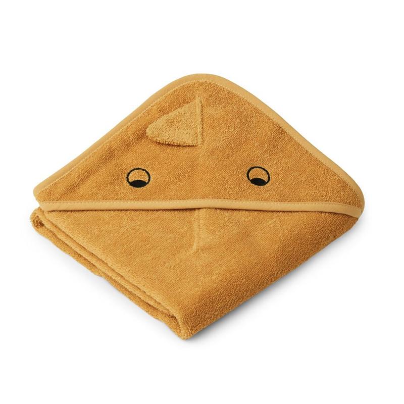 Liewood lille babyhåndklæde med hætte, dino – yellow mellow