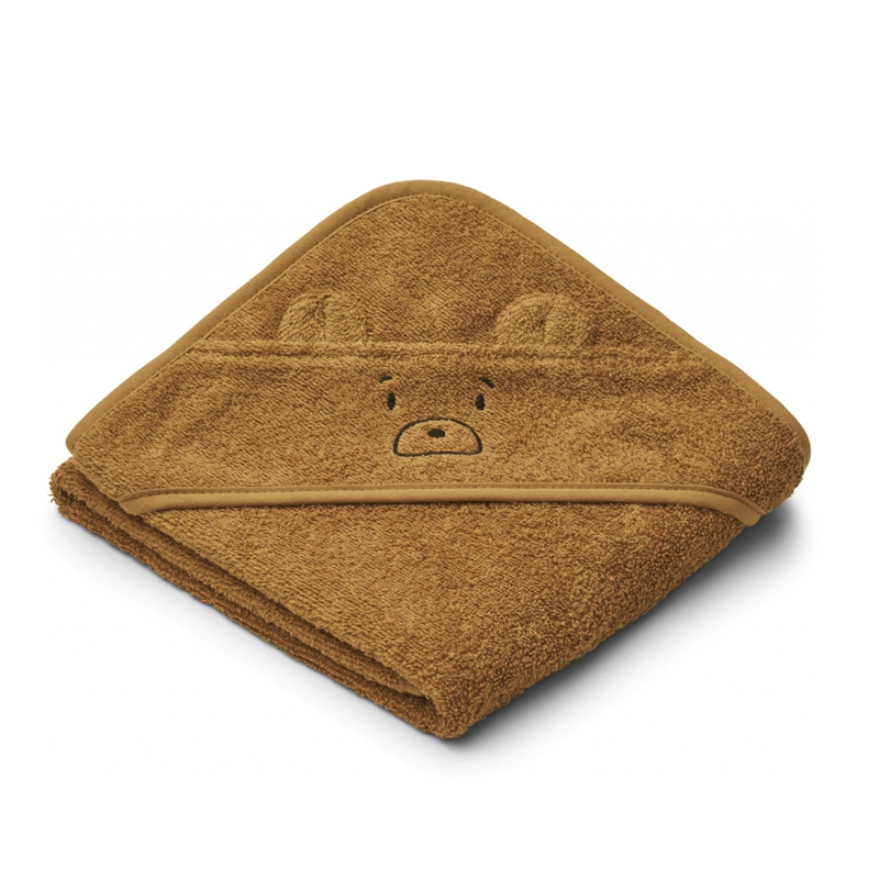 Liewood lille babyhåndklæde, mr bear golden caramel