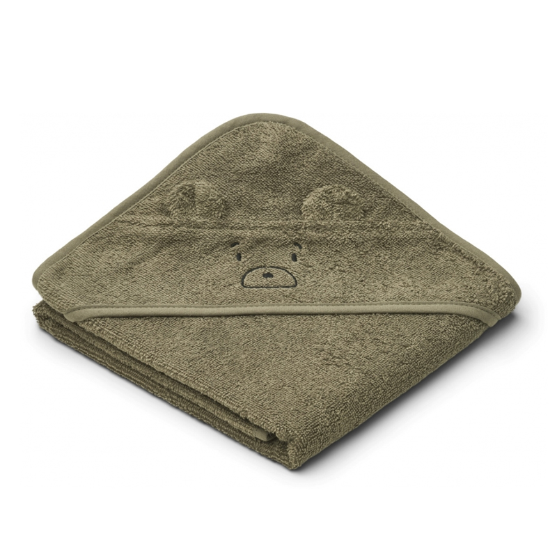 Liewood lille babyhåndklæde, mr bear khaki