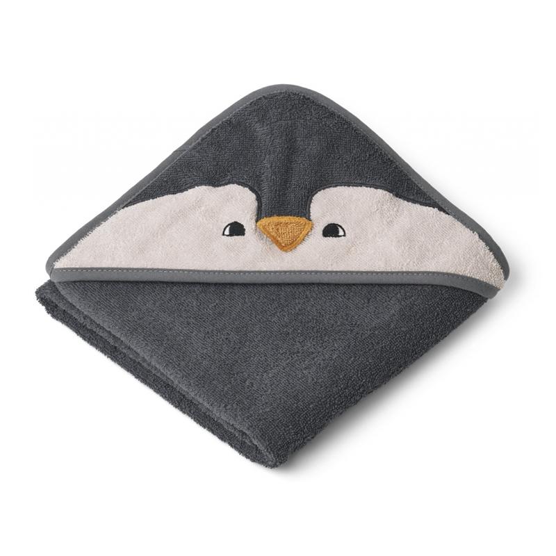 Liewood lille babyhåndklæde, penguin stone grey