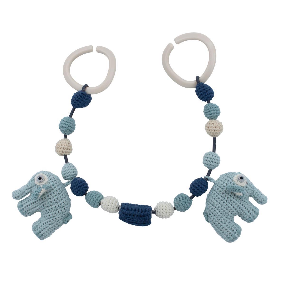Billede af Sebra barnevognskæde, elefant - lagoon blue