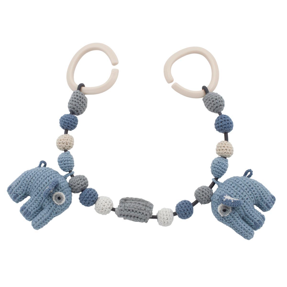Billede af Sebra barnevognskæde m.elefanter, powder blue