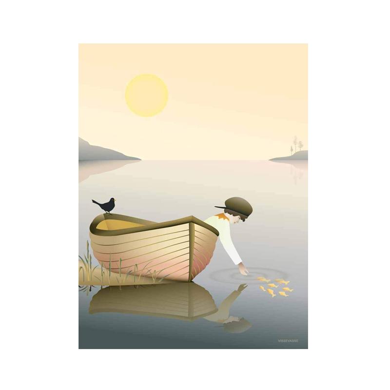 Billede af Visse Vasse plakat, Boy in a boat - 30x40 cm