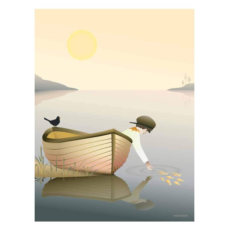 Billede af Visse Vasse plakat, Boy in a boat - 50x70 cm
