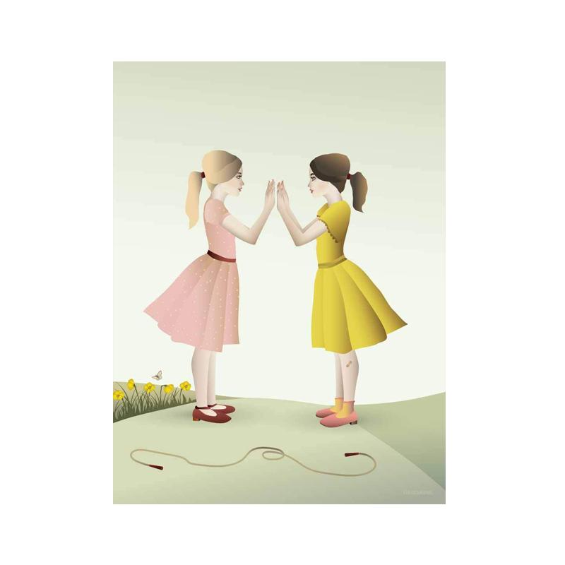 Billede af Visse Vasse plakat, Hand-clapping girls - 30x40 cm
