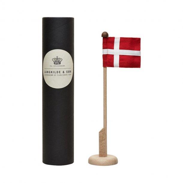 Langkilde & Søn bordflagstang i egetræ med Dannebrog