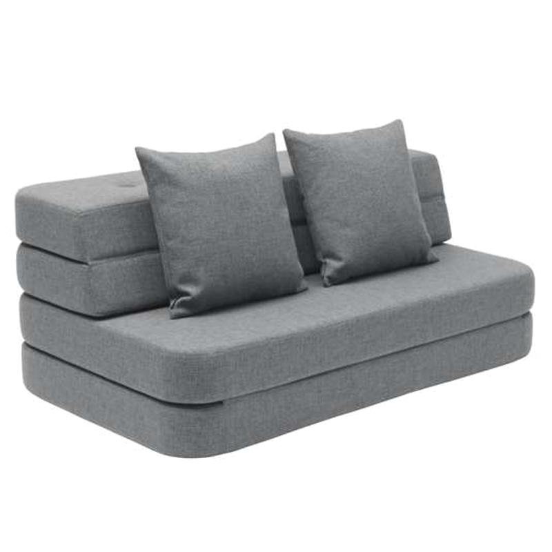 Image of   byKlipKlap 3-fold sofa, 140 cm blågrå m grå knap
